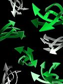 Set of  green arrows on black background isolated