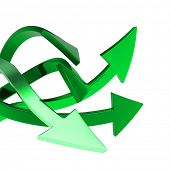 Greenl arrows on white background isolated