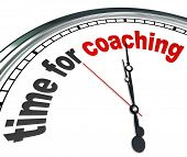 The words Time for Coaching on a clock to illustrate the need to learn or be trained by a role model