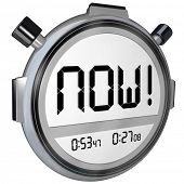The word Now on a stopwatch timer digital display to represent the present, an urgent reminder of so