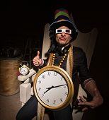 picture of rapper  - Funny white rapper with multi colored hat and large clock - JPG