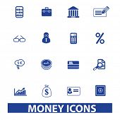 money, finance, bank, accounting icons, signs set, vector
