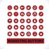marketing & management buttons, signs, icons set, vector