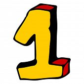 doodle infantil ABC, número 1 da mão