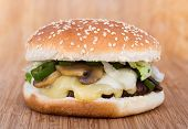 cheese and mushroom burger
