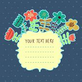 Bright flowers with textbox. Vector element for invitations, banners, cards, web design