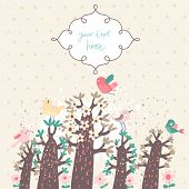 Magic forest with birds. Cute cartoon vector card. Good for invitations