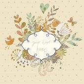 Vintage card in vector made of flowers and butterflies. Retro floral composition with a textbox. Sty