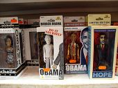 Barack Obama And His Wife Michelle Bobbleheads On Display