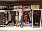 Barack Obama en zijn vrouw Michelle Bobbleheads op Display