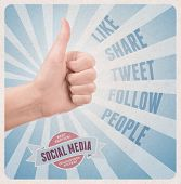 stock photo of follow-up  - Retro style poster with hand showing thumb up gesture surrounded with keywords on facebook and twitter social media theme - JPG