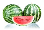 Two Watermelon And Slice Isolated On White Background