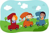 Illustration of Stickman Kids riding in Number-Shaped Cars