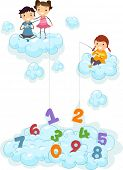 Illustration of Kids on Clouds fishing for Numbers
