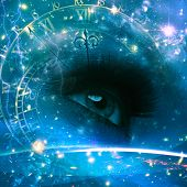 stock photo of sci-fi  - Eyes of the Universe abstract environmental backgrounds - JPG
