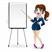 Attractive business woman stands near the flip chart and holds in hands a pointer