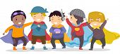 stock photo of playmates  - Illustration of Little Boys in their Superhero Costumes - JPG
