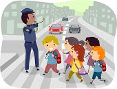 stock photo of pedestrians  - Illustration of Kids using the Pedestrian Lane while Crossing the Street - JPG