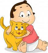 Illustration of Toddler Boy hugging a Cat