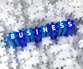 Creative 3D pieces of puzzle and word BUSINESS