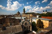 LVIV, UKRAINE - AUG 6: City view from roof historic building House of Legends on Aug 6, 2012 in Lviv
