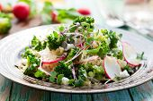 Broccoli,radish and feta salad with quinoa