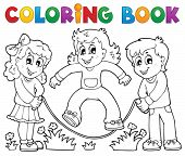 Coloring book kids play theme 1 - eps10 vector illustration.