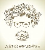 stock photo of physicist  - human face is made up of icons of science - JPG