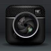 Total black professional photo camera icon
