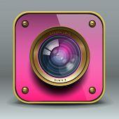 Ícone de câmera de foto-de-rosa