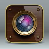Wooden luxury photo camera icon