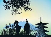 Beautiful Picture Of A Geisha, Mountains And Trees