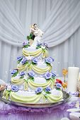 Layered Wedding Cakeon the festive table