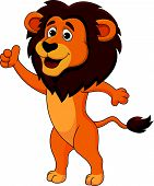 Cute lion cartoon thumb up