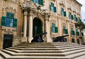 pic of prime-minister  - Office of the prime minister building in Valletta Malta with cannons guarding the entrance - JPG