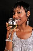 African American Woman Enjoying Wine
