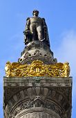 King Leopold I Statue On The Congress Column In Brussels.