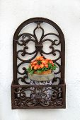 Decorative Ironwork And Flowerpot