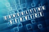 Consulting Service In Blue Glass Cubes