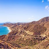 Andalusia, Landscape. Road In Cabo De Gata Park, Almeria. Spain