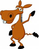 Cute donkey cartoon waving