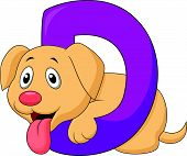 Alphabet D with Dog cartoon