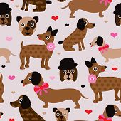 Seamless hipster mustache dog puppy kids illustration background pattern in vector