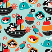 stock photo of pirate flag  - Seamless retro pirates illustration sailing the ocean background pattern in vector - JPG