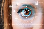 image of circuits  - Future woman with cyber technology eye panel concept - JPG