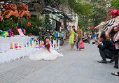 Photosession Of The Brides  In A White Dress On The Street. Hanoi. Vietnam.