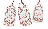 Isolated Christmas Labels With Love Sticker