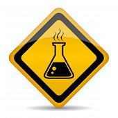 pic of retort  - Danger chemicals vector sign isolated on white background - JPG
