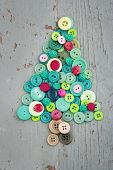 Green And Red Buttons As Decorative Christmas Tree