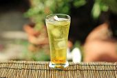 picture of brazilian food  - Flavour Brazilian Drink gold guarana soft drink with ice cubes - JPG